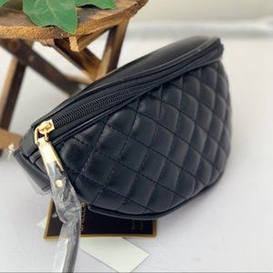 Quilted Faux Leather Black Fanny Pack Satchel